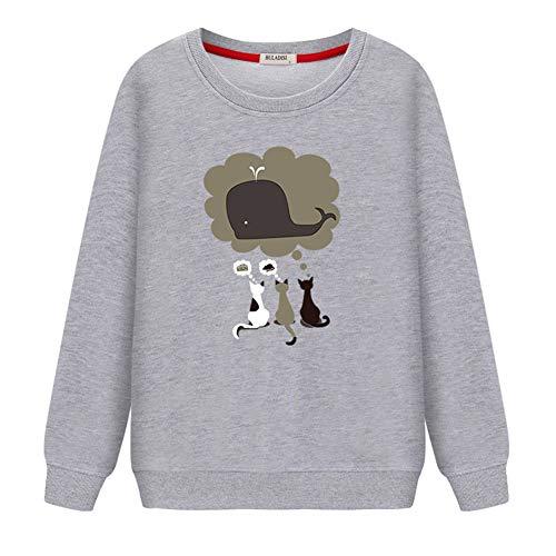 Lxj sweater felpe con cappuccio felpe 3d-pullover maglione a maniche lunghe da studente primavera e autunno stampa girocollo sciolto cappotto sottile casual, l, grigio