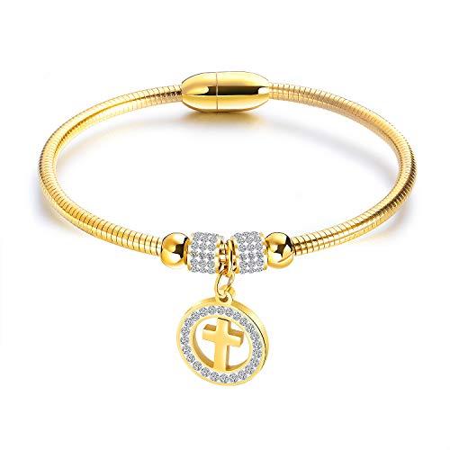 TIZIKJ Frauen Classic Cross Pendant Armband Edelstahl Edelstahl Stylish europäischen Armband Schmuck Gold/. Silber für Hochzeits-Engagement,Gold
