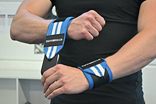 Handgelenkbandage [2er Set] Wrist Wraps 45 cm - Profi Bandagen für Kraftsport, Bodybuilding, Powerlifting, CrossFit & Fitness - Blau / Weiß -