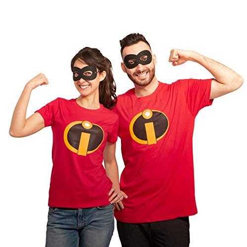 Karnevals Comic Superheld und Superheldinnen Partnerkostüm mit Shirt und Maske Mann Rot Medium/Frau Rot ()