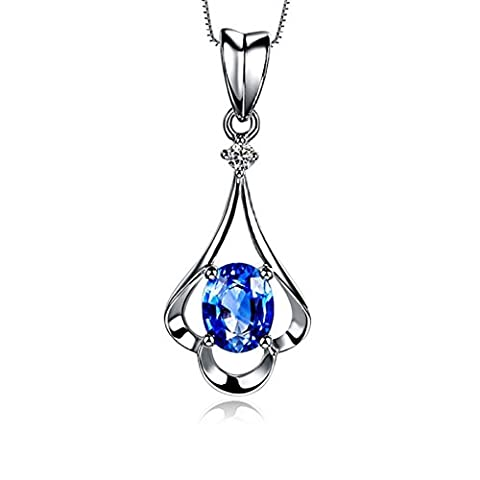 Synthetic September Birthstone 925 Sterling Silver Pendant Necklace for Women Girl Best Gifts 18