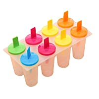 1 Set cooking tools 8-Cell Rectangle Shaped Reusable Ice Cream Pop Molds Ice Lolly Makers with Base