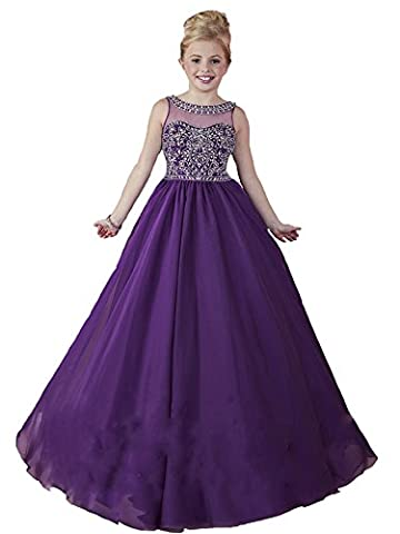 TuanYuan Girls Princess Beaded Sheer Neck Prom Gowns Pageant Dresses Purple 02