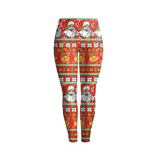 BESBOMIG Saisonal festlich Weihnachten Leggings Damen Stretchy Skinny -