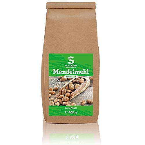 Schoefer Bio Mandelmehl - Teil-Entölt Weiß - Glutenfrei - Vegan - Paleo - Eiweißprotein - Fein Gemahlen - Blanchiert - Zum Backen - 500g