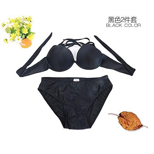 ZHANGYONG*3 bikini sexy pezzo di acciaio e piccole particelle di petto split modello di costume da bagno angolo 4 pantaloni ,L, nero 2 piece SET