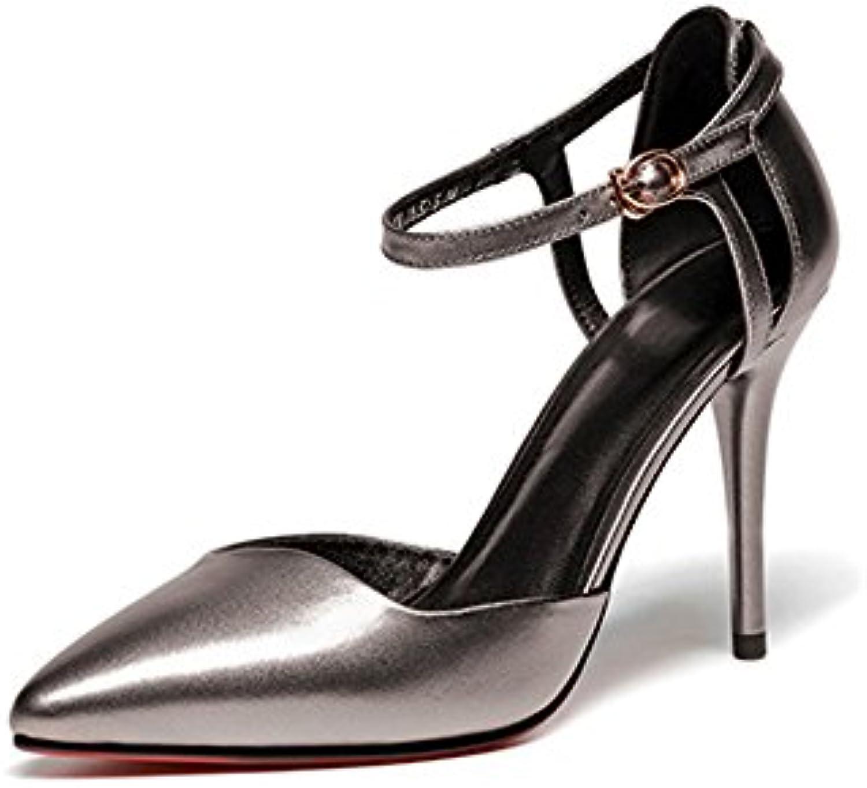 095e8b23ef0522 Femmes En Cuir Talons Talons Talons Hauts Bout Pointu Creux Bride à  La Cheville s Chaussures Stiletto Robe De Soirée.