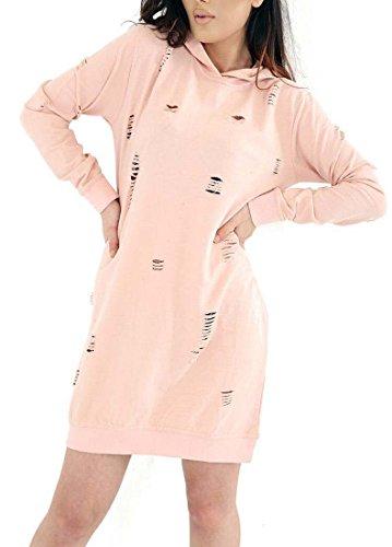 F&F Frauen-Damen zerrissenes beunruhigtes übergroßes Longline Kapuzen-Sweatshirt Kleid-Oberseite (XL, Nackt)