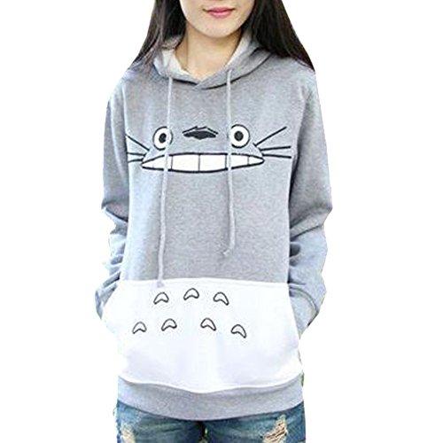 La Cabina Femme T-Shirt Sweat-shirt à Capuche Casual Motif Totoro Mignon pour Printemps Automne Hiver (Asian L, EU 42)