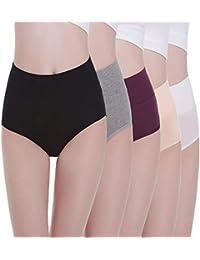 TUUHAW Braguita de Talle Alto Algodón para Mujer Pack de 5 Culotte Bragas de Cintura Alta Cómodo Talla