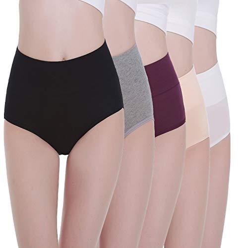 TUUHAW Braguita de Talle Alto Algodón para Mujer Pack de 5 Culotte Bragas de Cintura Alta Cómodo Talla 1 L