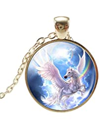 HENGSONG Unicorn Necklace Charm Pendant Necklace Jewelry Gifts for Women Men Girls Boys Unisex (Style 2)