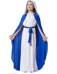 Girls Childs Virgin Mary Costume Nativity Christmas Childrens Fancy Dress