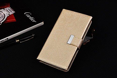 iPhone Case Cover Luxe de couleur unie 3 pliable PU Leather Wallet Case Avec carte Cash Slot et Photo Window Pattern pour IPhone 6s 6 ( Color : Brown , Size : IPhone 6s ) Gold