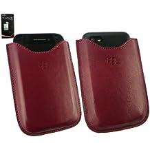 Genuine Blackberry Rosso Premium Custodia In Pelle In Confezione Bulk Adatto Per Blackberry Q5 + Screen Protector