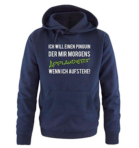 Comedy-Shirts -  Felpa con cappuccio  - Maniche lunghe  - Uomo Navy / Weiss-Grün