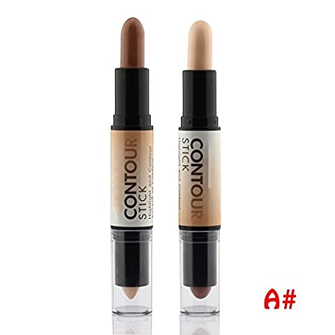 Contour Stick Highlighter Bronzer Create 3D Face Makeup Concealer Full Cover Blemish Double-ended 2 in 1,Light brown,0.28oz