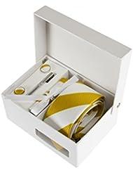 Coffret Cadeau Los Angeles - Cravate slim à larges rayures blanches et jaune moutarde, boutons de manchette, pince à cravate, pochette de costume