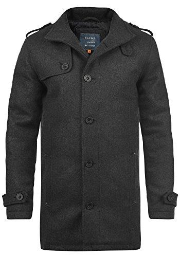 Blend Warren Herren Wollmantel Lange Jacke Mit Stehkragen, Größe:S, Farbe:Charcoal (70818)