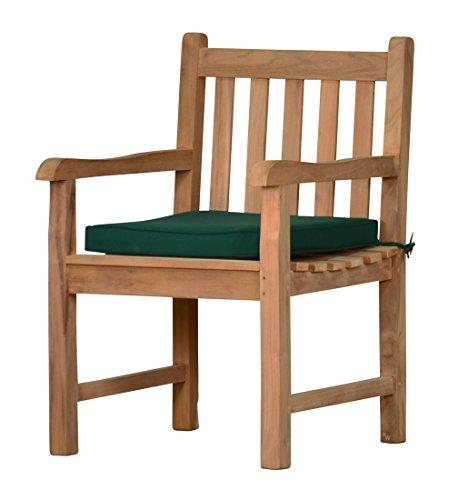 """Kai Wiechmann 2er Set Auflage \""""Kanaria\"""" für Gartenstuhl aus 100{aef1c96c66ee3a435c8e7f2ad0e2019cc0bccaf3ceac7beea0490ccc211d7393} Polyester 6 cm dick 50 x 45 cm, (grün, dunkelgrün) Polster für Stuhl"""