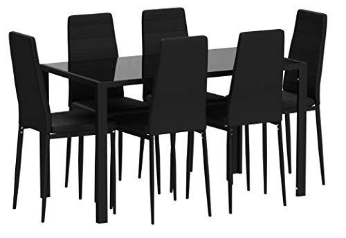 TecTake Esszimmergruppe mit Esstisch und 6 Essstühlen | Strapazierfähiges Kunstleder | Robuste Tischplatte aus Sicherheitsglas - Diverse Farben (Schwarz | Nr. 402839)