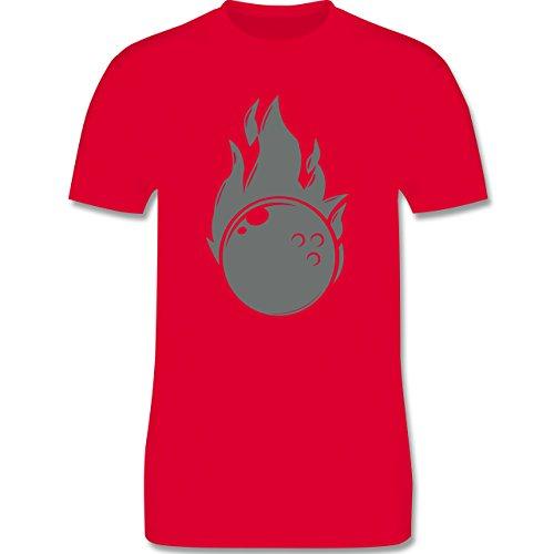 Bowling & Kegeln - Bowling Flammen Ball einfarbig - Herren Premium T-Shirt Rot