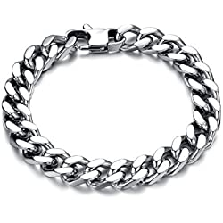 Aaishwarya 100% stainless steel Bold in Silver Chain Bracelet For Mens & Boys