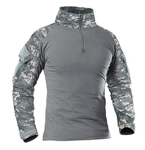 KEFITEVD Combat Shirt Herren Tactical Army Shirt Langarm Camouflage Military Hemd Stehkragen Paintball Klettern Übergröße ACU 2XL (Etikett 5XL) Multicam Combat Uniform