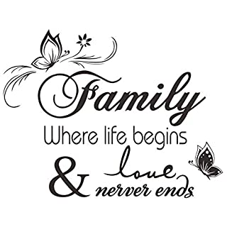 LAPOPNUT Wall Stickers 'Family ' Quote Series Black Lettering Stickers Quotes and Sayings Butterfly Flower Vinyl Wall Decal Words Removable DIY Wall Art Sticker Home Décor Decoration (Butterfly)