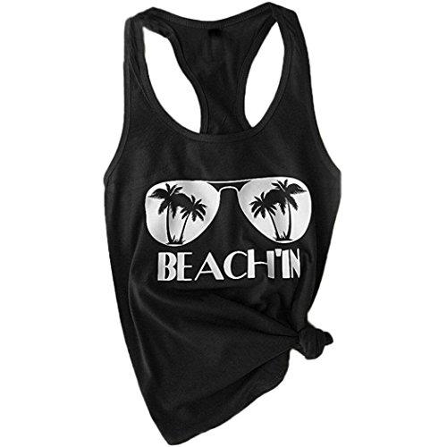 SEWORLD 2018 Damen Mode Sommer Herbst Frauen Strand Drucken Beiläufige Schön Einzigartig Trägershirt Bluse Ärmellose Oberteile O-Ausschnitt T-Shirt Tops Tunika Bluse(Schwarz,EU-46/CN-4XL)