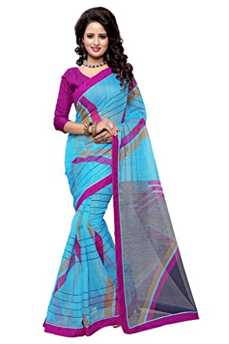 SOURBH Women's Art Silk (Super Net) Geometric Printed Saree (2352_Turquoise,Magenta)  available at amazon for Rs.695