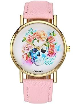 JSDDE Uhren,Damenuhr Totenkopf mit Blumen Armbanduhr Zeitloses Design Kleid Uhr PU Lederband Analog Quarz Uhr,...