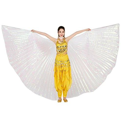 Tanz Und Kostüm Weiße Schwarze - style_dress Ägypten Belly Wings Für Bauchtanz Tanz Schleier Flügel Zubehör Tanzen Kostüm Bauchtanz Zubehör No Sticks Kostüme Fasching Karneval (Weiß)