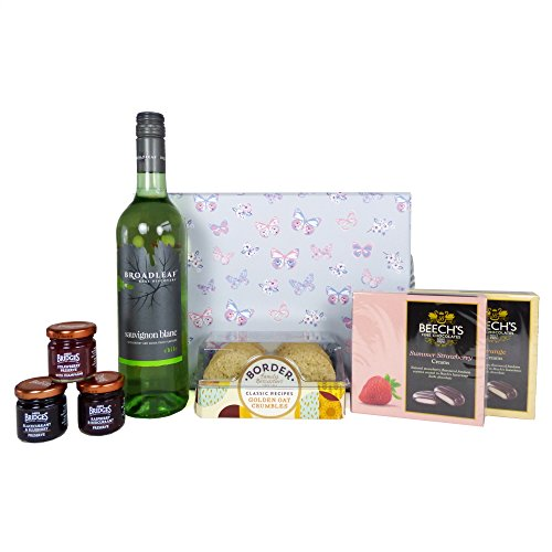 Broadleaf White Wine & Nibbles Hamper Presented in a Delightful Butterfly Gift Box - Gift Ideas for Christmas presents, Birthday, Wedding, Anniversary and Corporate