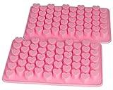 Blue Fox 2er Set Silikonform Herzen Silikon Herzlein Eiswürfel Pralinenform Silikon Min Herzform Silicone Seife Zuckerguss Valentinstag Geschenk, Farbe: Pink