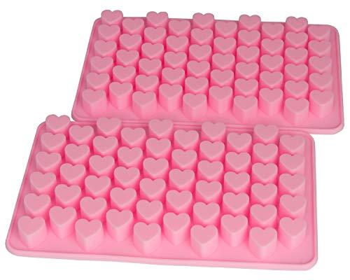 Blue Fox 2er Set Silikonform Herzen Silikon Herzlein Eiswürfel Pralinenform Silikon min Herzform Silicone Seife Zuckerguss, Farbe: Pink