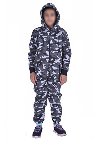 Kids Army Camo Print Onesie Hooded Jumpsuit All In One Boys Girls Fleece Tracksuit Age 7-13