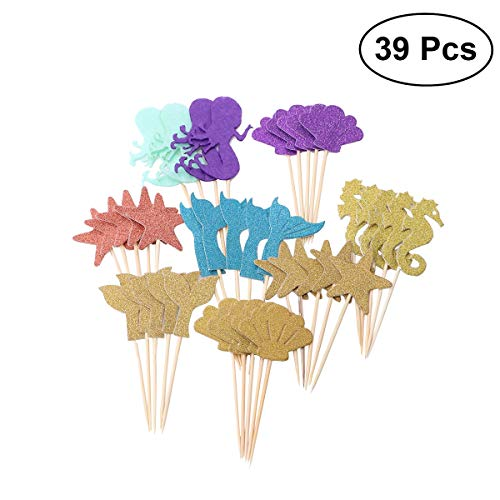 ATEZIEU 39PCS Sea Animal Creature Cupcake Appetizer Dekoration Toppers Picks, Thema Party Dekoration Liefert Kinder Geburtstage Party Dekoration