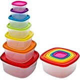 7 x Clear Plastic Tupperware Food Storage Box Containers With Multi Colour Lids by Kingfisher
