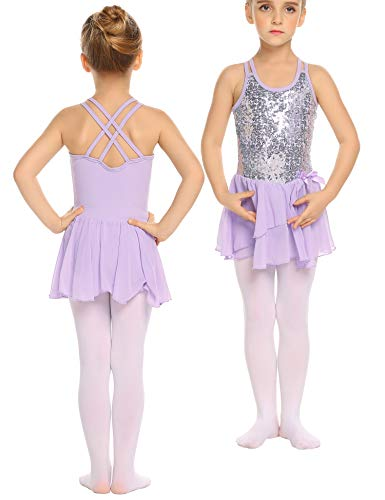 Ballett Kleider Mädchen Glitzer Kinder Ballettkleidung mit Rock Tütü Pailletten Kindertanz Balletttrikot Tanzkleid Tanzbody Kostüme Schwarz Rose Lila 3-11 Jahre (Kostüm Und Tanzkleider)
