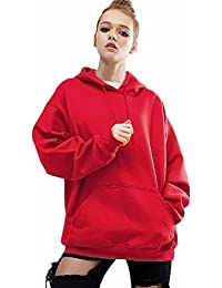 LuckyGirls ❤ • •❤ Mujer Talla Grande Camisetas Manga Larga Sudaderas con Capucha Color Sólido Rojo Casual Tops Blusa Sudaderas Camisas…
