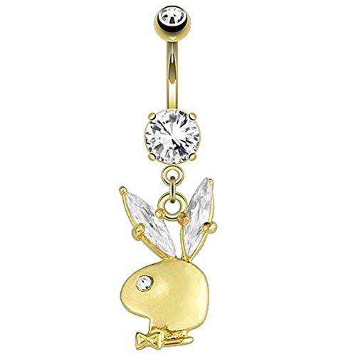 Paula & Fritz piercing per ombelico in acciaio INOX chirurgico 316L 14 placcato oro ciondolo Playboy Bunny con gremita orecchie zirconi PBNC007