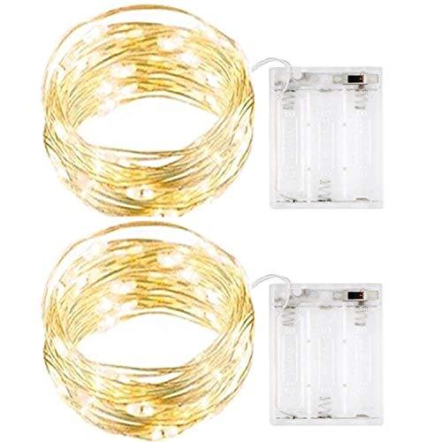 InteTech 2 Stück 50er LED-Lichterkette Innen Micro Draht Batterie-betrieben 16.5 Ft/5M (Warm-weiß)