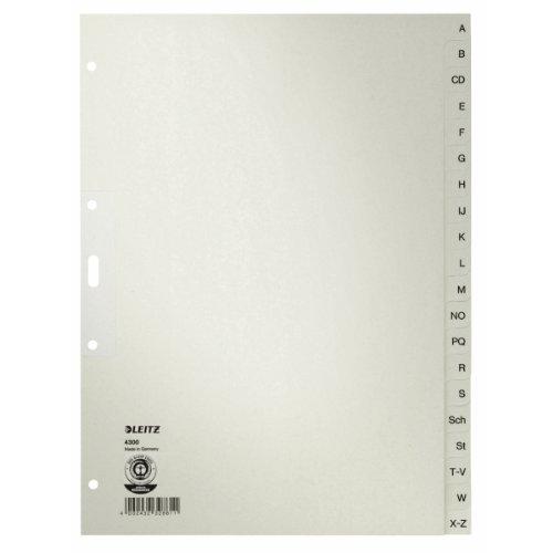 Leitz-Divisori alfabetici A-Z in carta, formato A4, carta, 20fogli, colore: grigio