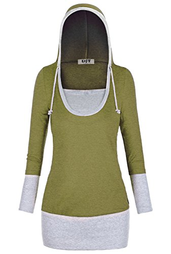 DJT Femme Sweat-Shirt a Capuche Manches Longues Tops Pull Shirt Tunique Hoodie Long Vert