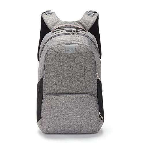 Pacsafe Metrosafe LS450 großer Nylon Rucksack mit Anti-Diebstahl Details für Damen und Herren, Daypack mit Diebstahlschutz, Tasche mit Sicherheits-Features, 25 L, Grau Meliert/Dark Tweed