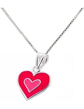 SL-Silver Set Kette Kinder Anhänger Herz pink 925 Silber in Geschenkbox