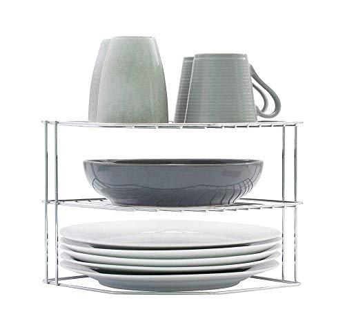Simplywire - Soporte para vajilla - Organizador de armarios de cocina - Diseño de 3 niveles - Cromado...