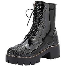 73a0fcd7c0e2f Botte Femme Hiver❤️Beautyjourney Boot Hiver Femme Bottine FourréE Quechua  Chaussures Pied Carré éPais Talon ...