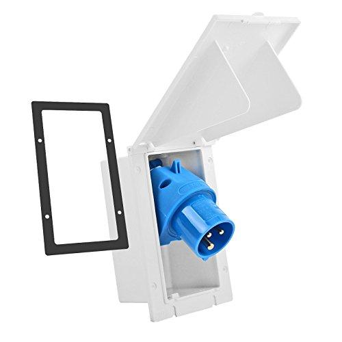 wamovo CEE Aussensteckdose weiß Spritzwasser geschützt 200-250V, 16A, 3 polig